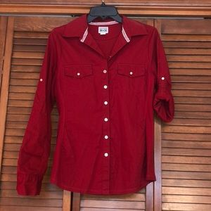 Red converse button down shirt